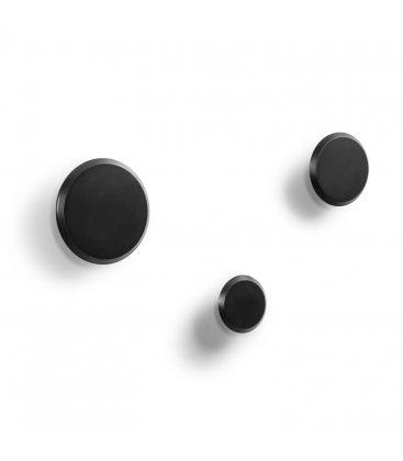 Pack de 3 percheros redondos de macera maciza LUI en negro