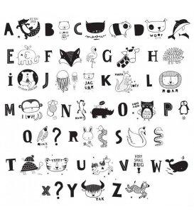 Kit 33 ilustraciones animales y letras abecedario para lightbox.