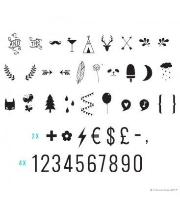 Kit 85 símbolos extra para personalizar mensajes en caja de luz o lightbox