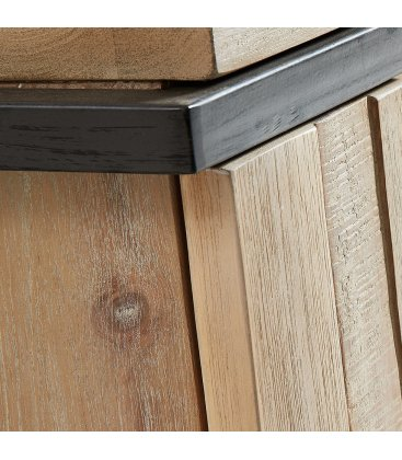 Mueble de TV de madera maciza y patas negras LIZ