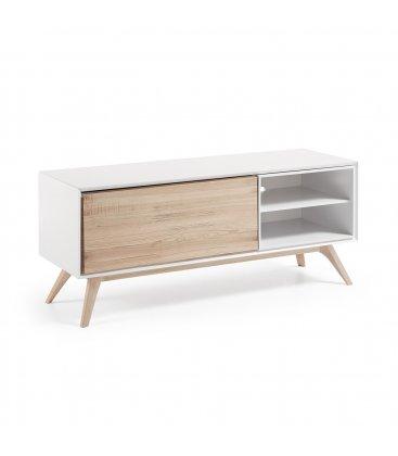 Mueble de TV de estilo nordico en blanco y madera de fresno QUIK