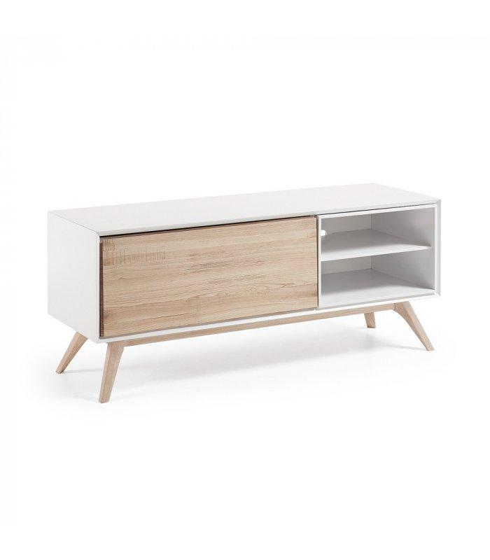 Mueble tv estilo n rdico blanco y madera - Muebles estilo nordico ...