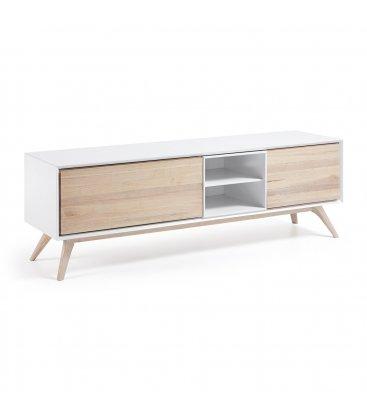 Mueble de TV de estilo nordico en blanco y madera de fresno QUIK 174cm