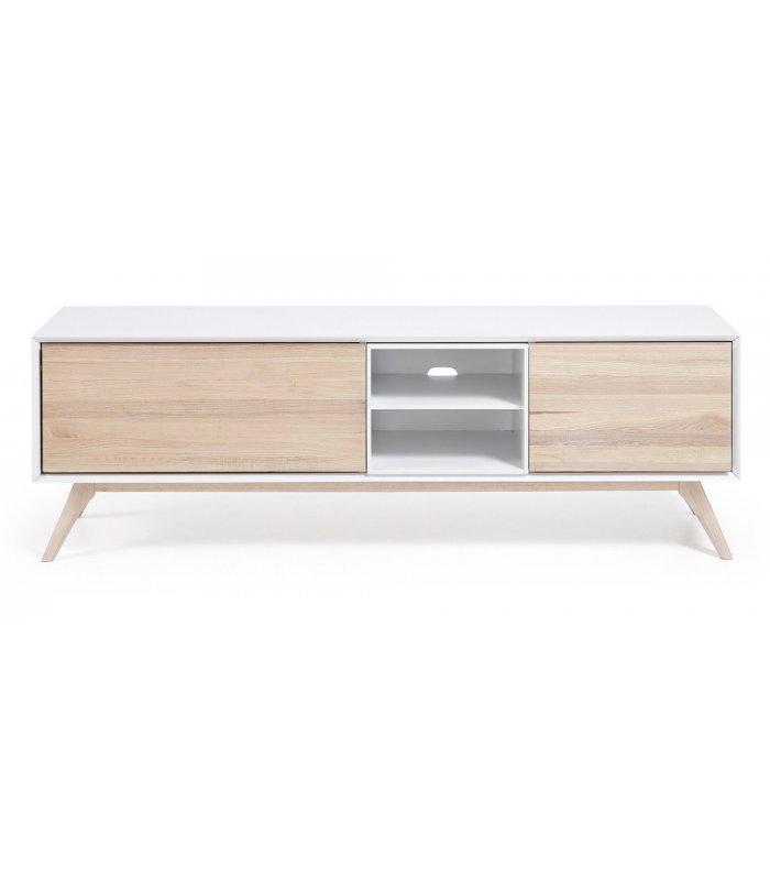 Mueble tv estilo n rdico blanco y madera for Estilos de muebles de madera