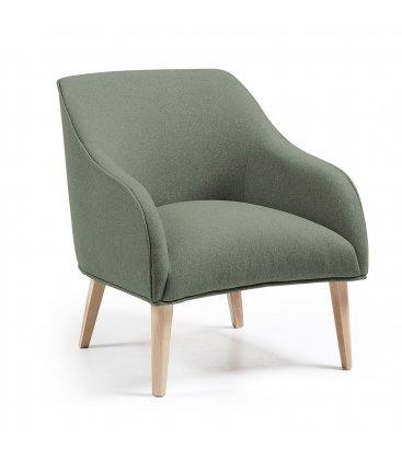 Sillón tapizado en color verde oliva con patas de madera HALL