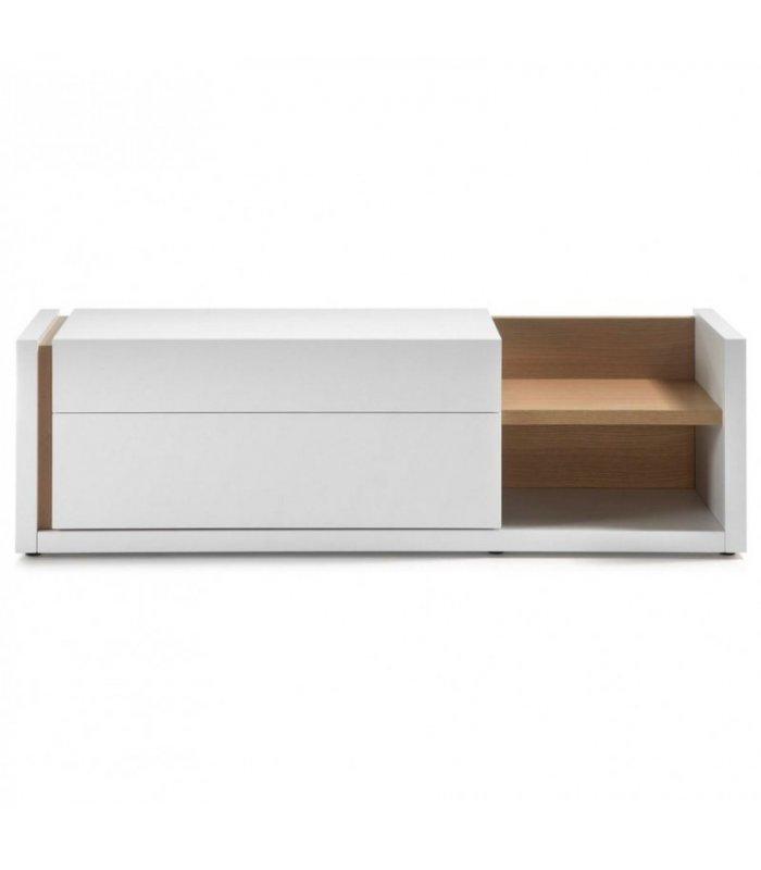 Mueble tv lacado en blanco y madera - Mueble lacado blanco ...