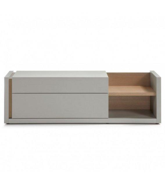 Mueble tv lacado en gris y madera - Lacado de madera ...