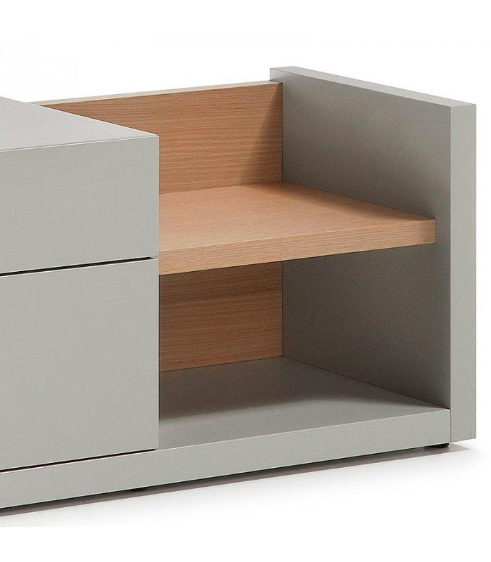 Mueble tv lacado en gris y madera for Mueble gris y blanco