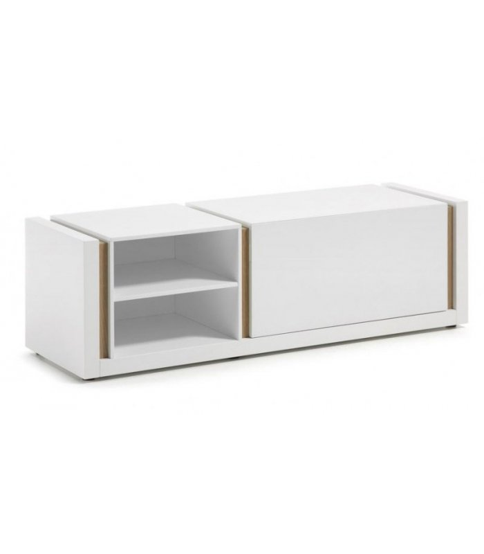 Mueble tv lacado en blanco y madera for Mueble tv lacado blanco