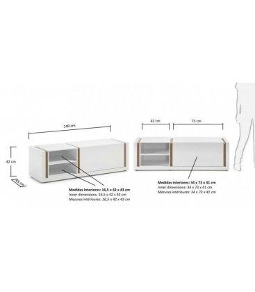 Mueble de TV lacado en blanco y madera de roble FIVE