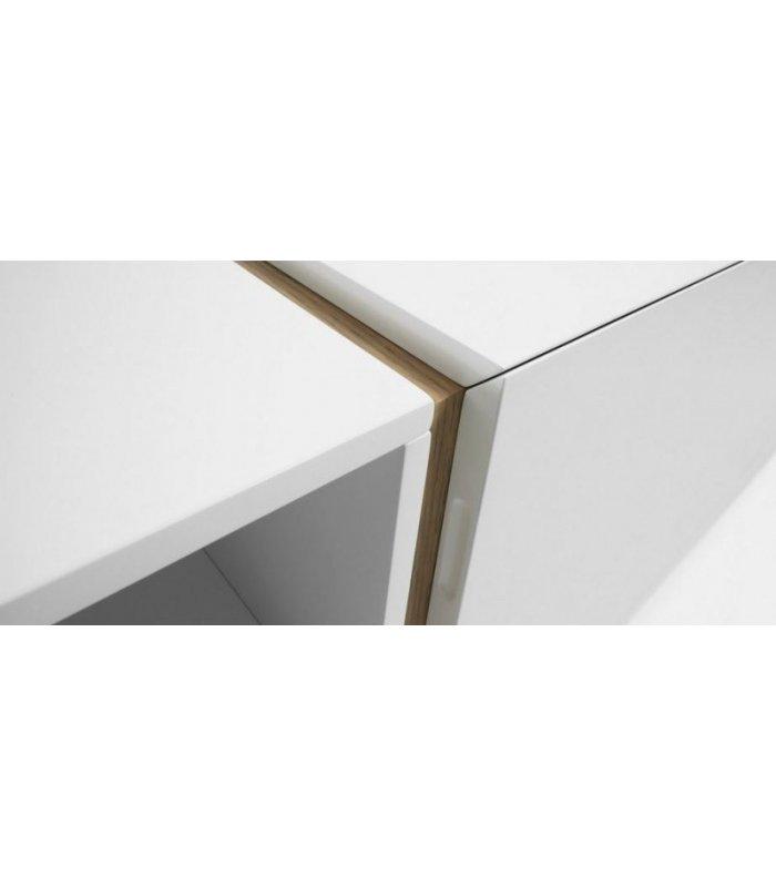 Mueble tv lacado en blanco y madera for Mueble gris y blanco