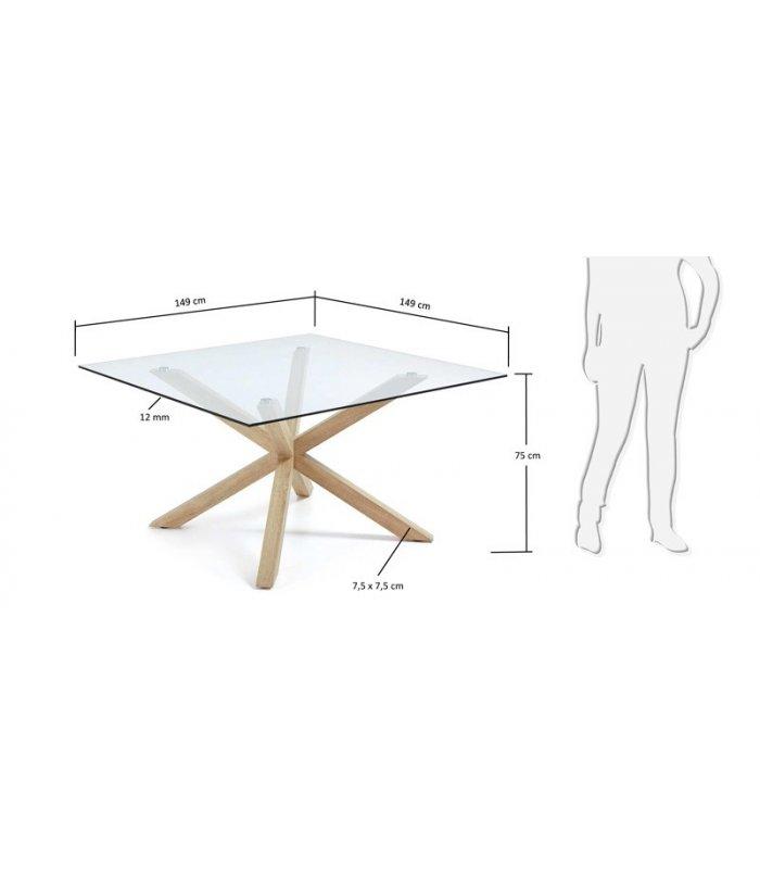 Mesa de comedor cuadrada aire con patas de madera y sobre - Mesa cuadrada de comedor ...