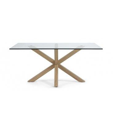 "Mesa de comedor rectangular ""AIRE"". Patas madera y sobre de vidrio"