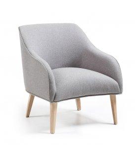Más acerca de Sillón tapizado en color gris con patas de madera HALL