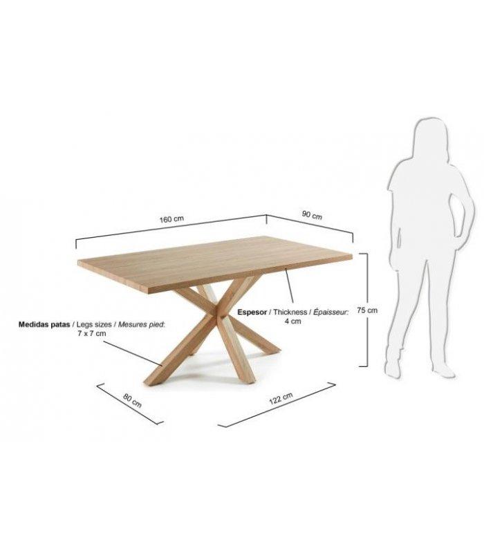 Mesa de comedor rectangular aire con patas y sobre de madera - Patas de mesa de madera ...