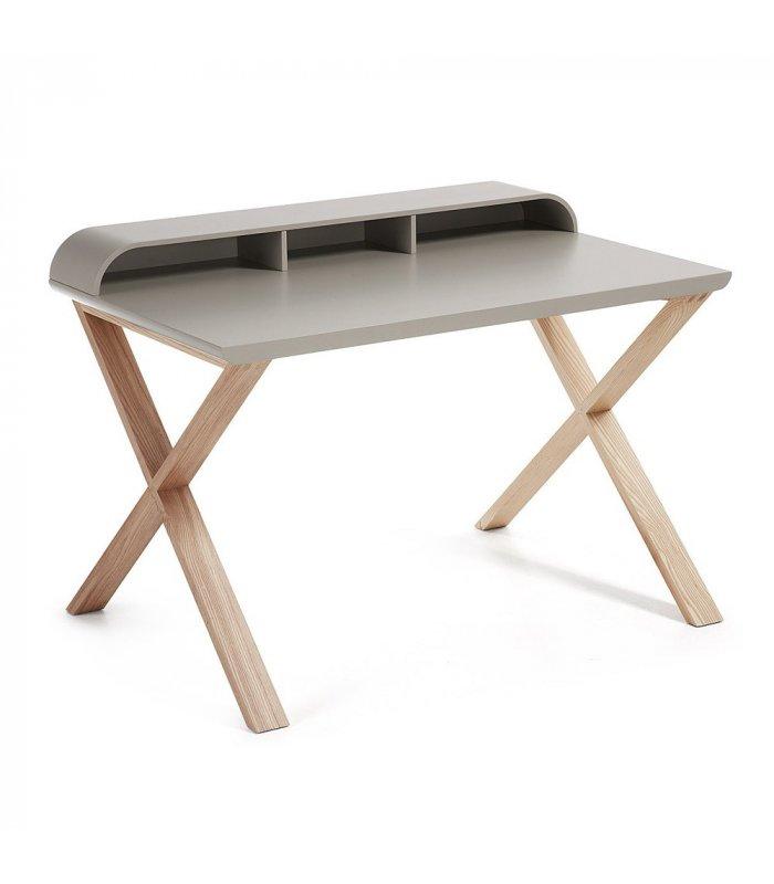 Escritorio con sobre lacado en gris mate y patas de madera - Patas para escritorio ...