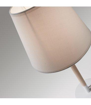 Lámpara de sobremesa MOS en blanco y madera.