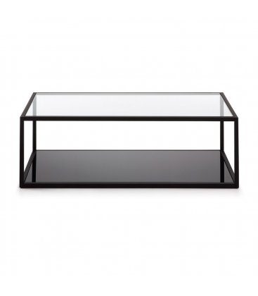 Mesa de centro con estructura negra y sobre de vidrio CUBE