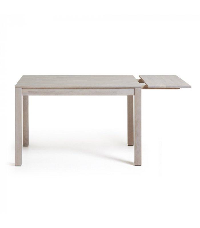 Mesa de comedor rectangular de roble macizo blanqueado dira for Mesa comedor rectangular