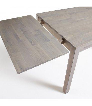 Mesa de comedor extensible rectangular de roble macizo blanqueado DIRA