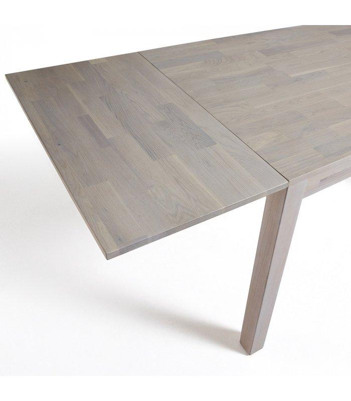 Mesa de comedor rectangular de roble macizo blanqueado dira for Mesa rectangular extensible