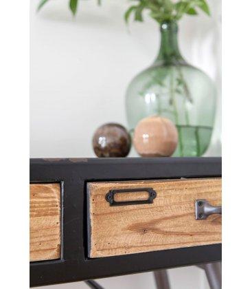 Consola de madera y metal de estilo industrial y vintage URBAN