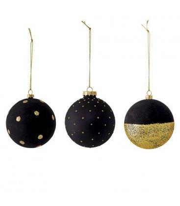 Set de 3 bolas de Navidad en negro y brillantina dorada.