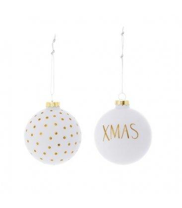 Set de 2 bolas de Navidad en blanco y brillantina dorada.