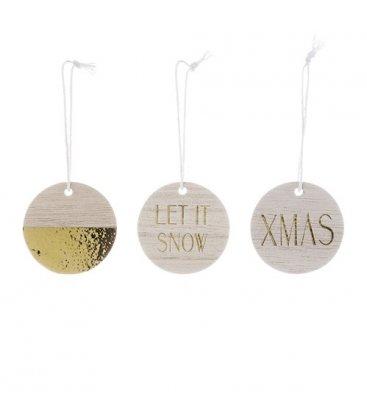 Set de 3 adornos de Navidad de madera y brillantina dorada.