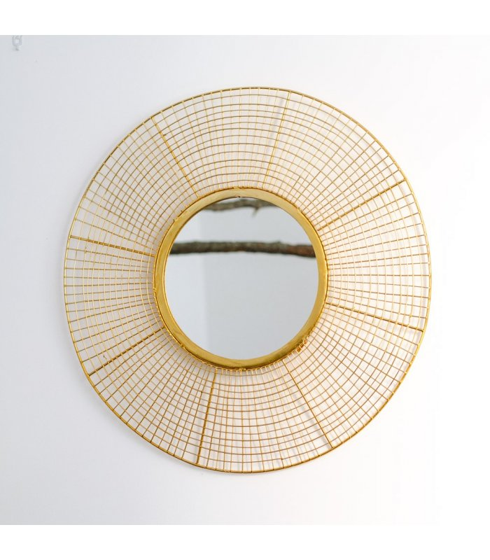 Espejo redondo dorado goldeneye de estilo retro for Espejo redondo plateado