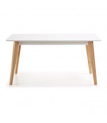 Mesa de comedor rectangular con sobre blanco y patas de madera roble MOI