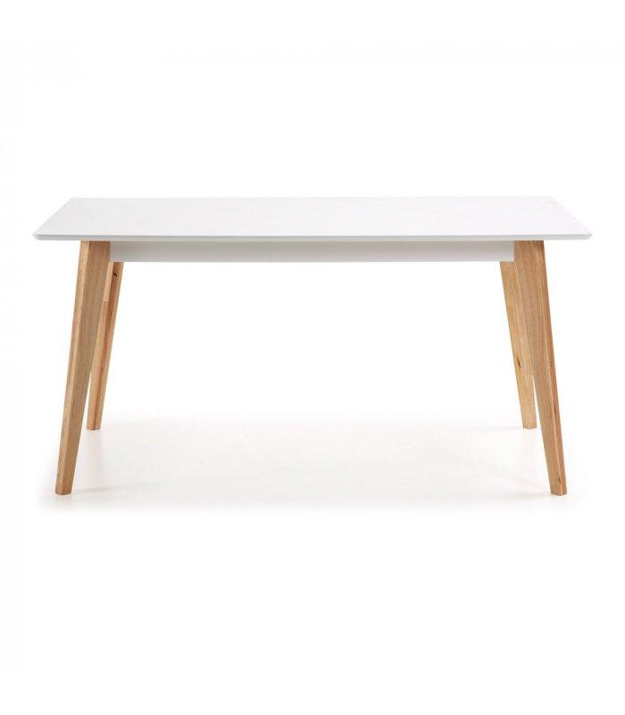 Mesa de comedor rectangular con sobre blanco y patas de for Comedor blanco y madera