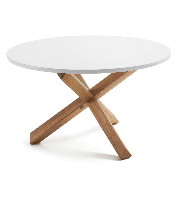 Mesa de comedor redonda aire con patas de madera y sobre for Comedor blanco y madera