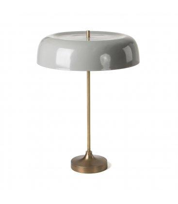 Lámpara de sobremesa pie dorado pantalla gris VEGA