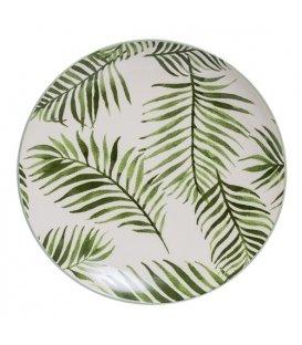 """Plato plano de cerámica esmaltado con estampado de hojas """"JADE"""""""