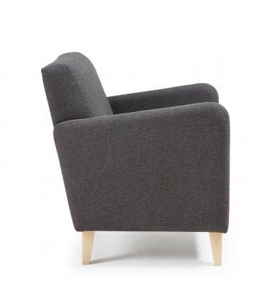 Sillón tapizado en color gris oscuro con patas de madera KUPI
