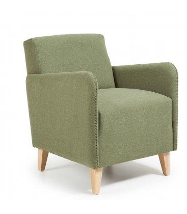 Sillón tapizado en color verde olivo con patas de madera KUPI