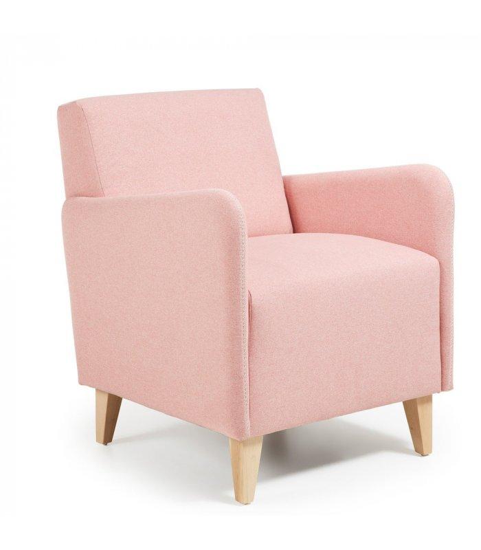 Sill n tapizado en color rosa palo con patas de madera kupi - Sillon con palets de madera ...
