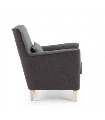Sillón tapizado en tela gris oscuro con pies de madera natural AINA