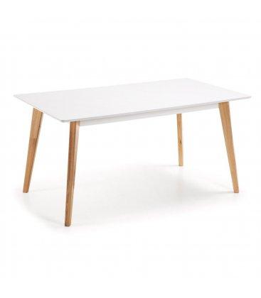 Mesa de comedor con sobre blanco y patas de madera haya HILLS.