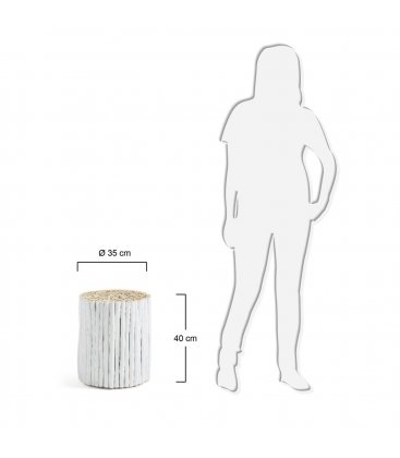 Mesa auxiliar redonda madera blanco troncos FEEL
