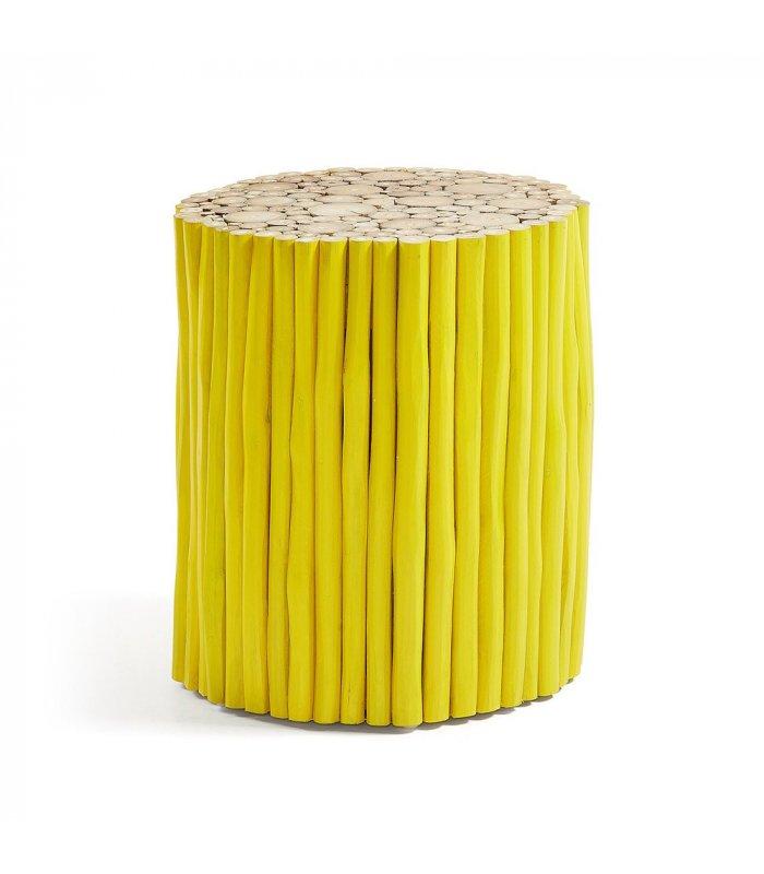 Mesa auxiliar redonda madera amarillo troncos FEEL