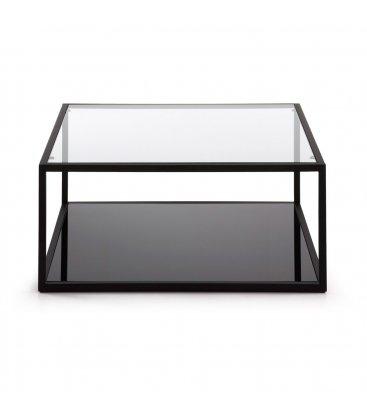Mesa de centro con estructura negra y sobre de vidrio 80x80 CUBE