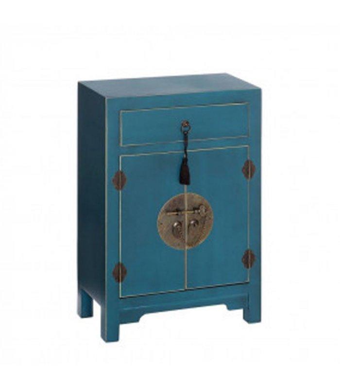 mesita de noche de madera lacada en azul pato tibet. Black Bedroom Furniture Sets. Home Design Ideas