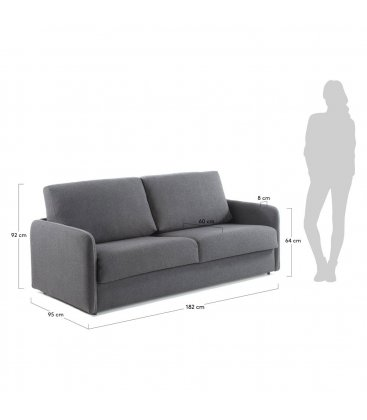 Sofá cama de 2 plazas tapizado en gris SUN