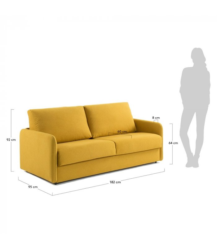 Sof cama desenfundable de 2 plazas tapizado en mostaza sun for Sofa cama de una plaza