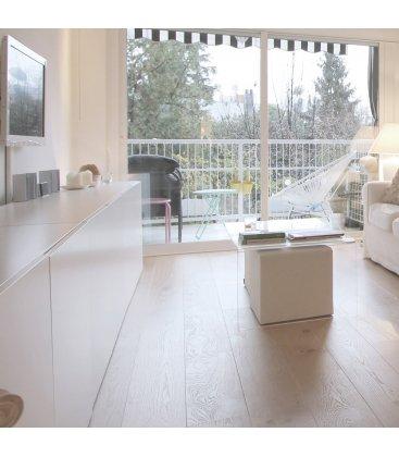 Mesa de centro rectangular de vidrio templado GLASS 110x50cm