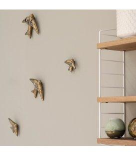 Golondrinas doradas de cerámica esmaltadas (PACK DE 4 UNIDADES)