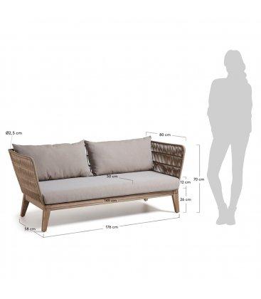 Sofá 3 plazas para exteriores beige CAPRI