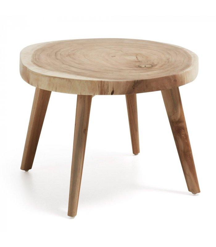 mesa redonda baja slice de madera maciza natural